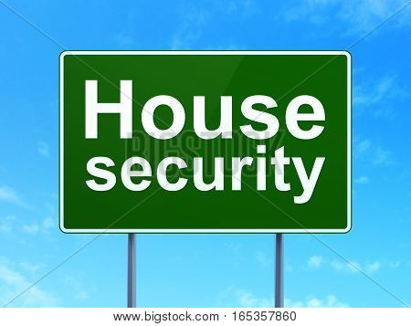 Privacy concept: House Security on green road highway sign, clear blue sky background, 3D rendering