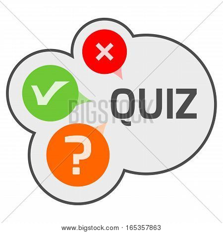 Quiz logo concept with signs of good, wrong and unanswered answer in bubbles. Isolated illustration.