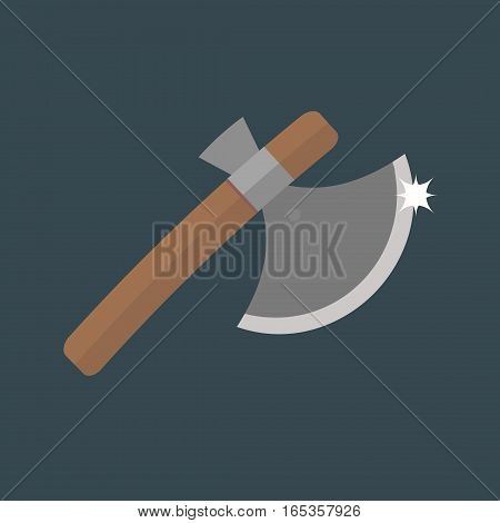 Axe weapon dangerous sign isolated on dark