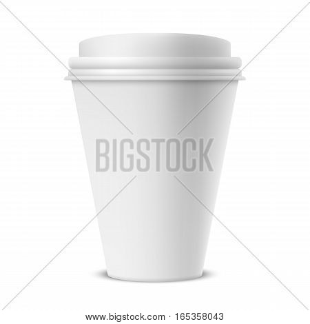 Blank white paper coffee cup. Branding mockup or template object
