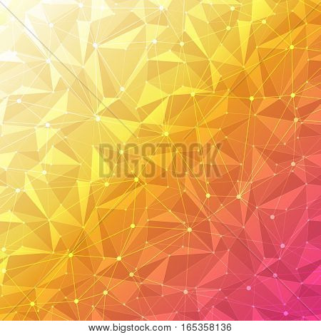 Orange abstract geometric background with polygon mesh grid pattern
