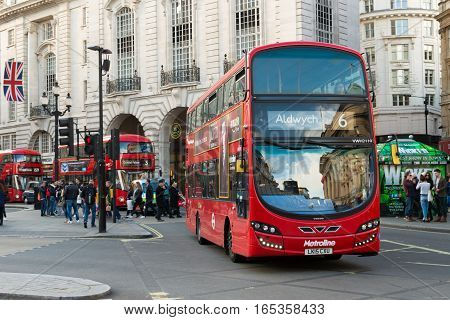 Double Decker Bus At Piccadilly Circus London
