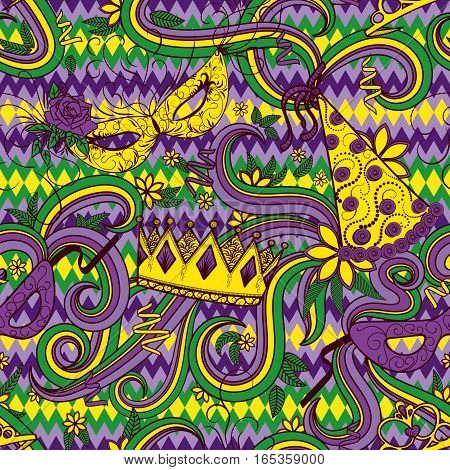 Mardi Gras seamless pattern. Colorful background with carnival mask and hats, crowns, ribbons and flowers. Vector illustration