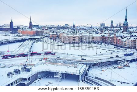 Winter aerial view from the observation platform of the Old Town in Stockholm Sweden