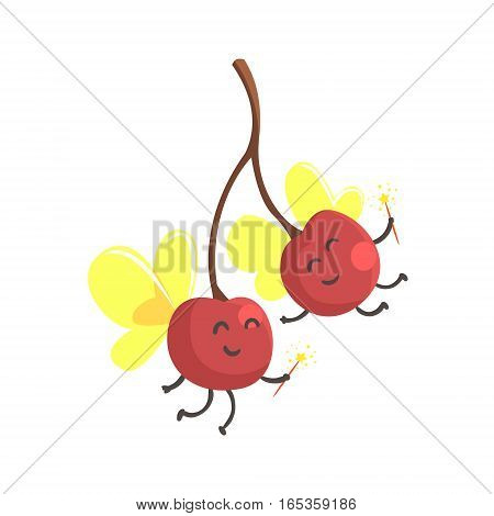 Pair Of Cherries With Wings In Fairy Costumes, Part Of Vegetables In Fantasy Disguises Series Of Cartoon Silly Characters. Colorful Vector Illustration With Fresh Food Disguised As Magic And Comics Creatures.