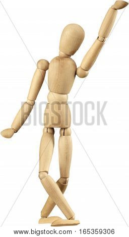 Miniature wooden mannequin with one arm in the air