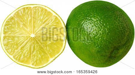 One whole lime next to a half of a lime