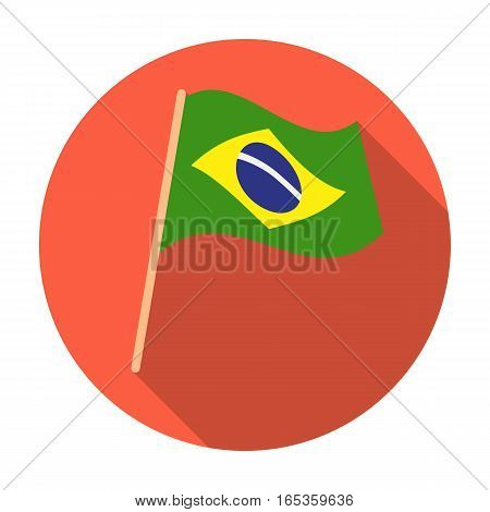Flag of Brazil icon in flat design isolated on white background. Brazil country symbol stock vector illustration.