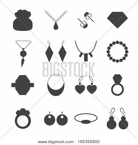 Set of vector jewelry items. Gold and gemstones precious accessories - tiara, necklace, pearl beads, ring, earrings, bracelet, brooch. Fashion items vector silhouette.