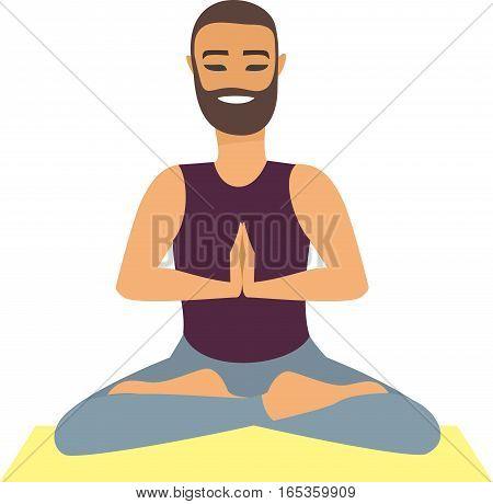 Man Yoga Practice Pose Training Concept flat vector