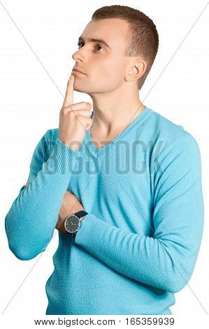 Young Man Thinking with Hand on Chin - Isolated