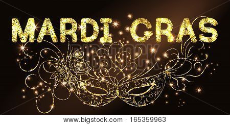 Mardi Gras or Shrove Tuesday background with ornate golden carnival mask. Black Background. Vector Illustration.
