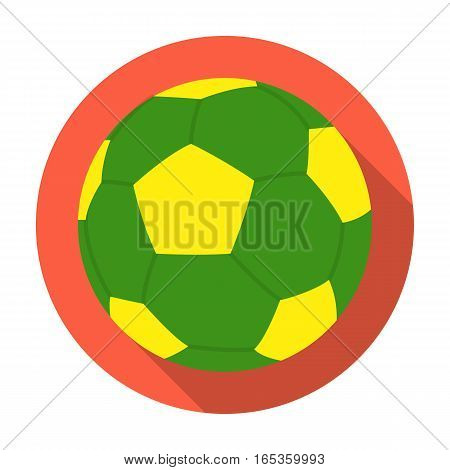 Green soccer ball icon in flat design isolated on white background. Brazil country symbol stock vector illustration.