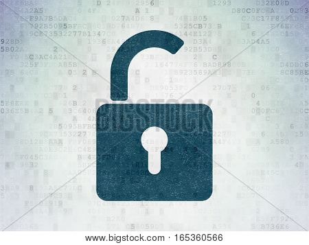 Security concept: Painted blue Opened Padlock icon on Digital Data Paper background