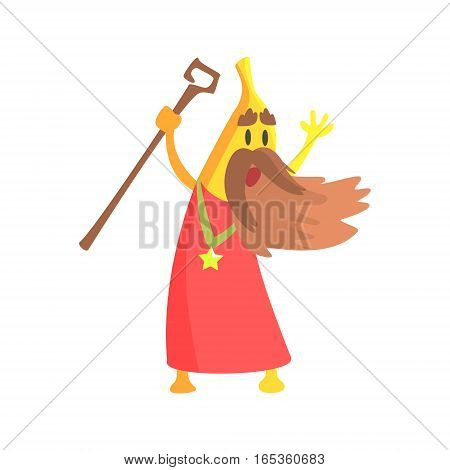 Banana Magician With Staff And Long Beard, Part Of Vegetables In Fantasy Disguises Series Of Cartoon Silly Characters. Colorful Vector Illustration With Fresh Food Disguised As Magic And Comics Creatures.