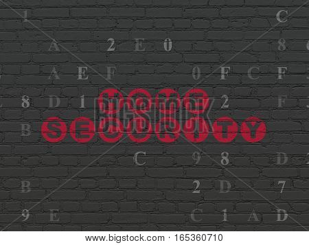 Protection concept: Painted red text Home Security on Black Brick wall background with Hexadecimal Code