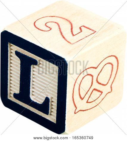 Wooden Letter Block With Letter L - Isolated