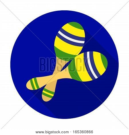 Brazilian maracas icon in flat design isolated on white background. Brazil country symbol stock vector illustration.