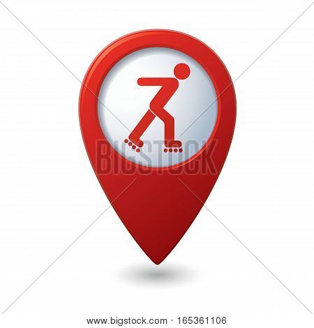 Red map pointer with roller skating icon