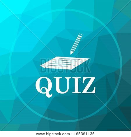 Quiz icon. Quiz website button on blue low poly background. poster