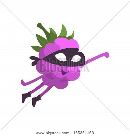 Blackberry In Mask Flying Like Superhero, Part Of Vegetables In Fantasy Disguises Series Of Cartoon Silly Characters. Colorful Vector Illustration With Fresh Food Disguised As Magic And Comics Creatures.