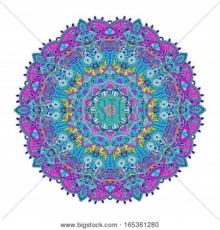 Ornament color card with mandala. Geometric circle element vector. Adults Coloring book. Kaleidoscope, medallion, yoga, india, arabic. Illustration for print, print, notebook, clothing