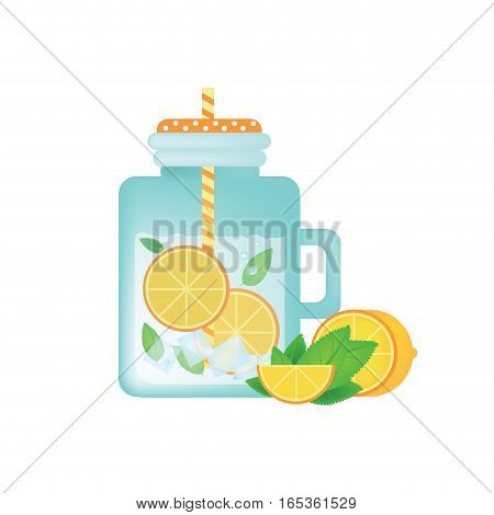 Fresh homemade lemonade in vintage mason jar with orange, ice, mint and orange slice
