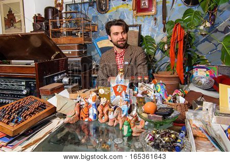 Kolomna, Russia - January 03, 2017: Owner flea market, located in center of tourist route, near to Kolomna Kremlin, waiting for customers