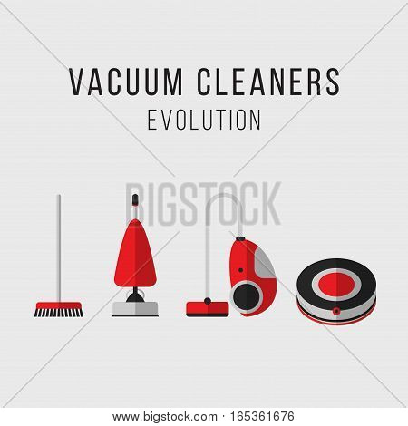 Cleaning equipment vector set. Vacuum cleaners evolution. Icons. Flat style