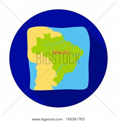Territory of Brazil icon in flat design isolated on white background. Brazil country symbol stock vector illustration.
