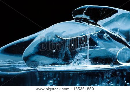 Artistic icy background transparent crystal gems objects. Frozen water abstract shapes, macro view soft focus.
