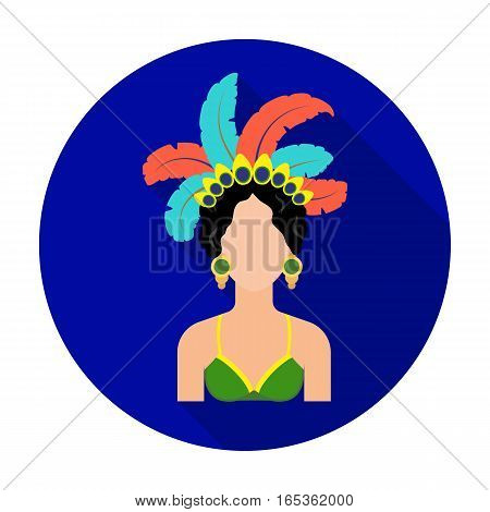 Samba dancer icon in flat design isolated on white background. Brazil country symbol stock vector illustration.