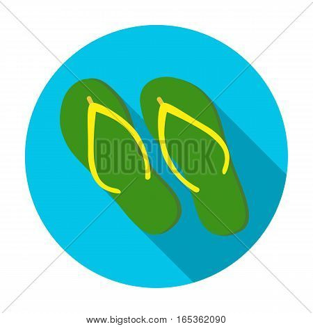 Green flip-flops icon in flat design isolated on white background. Brazil country symbol stock vector illustration.