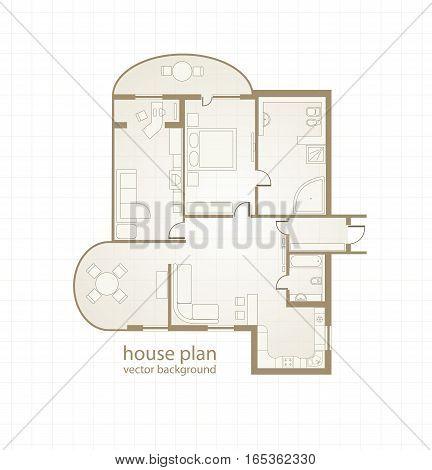 House Plan. Floor plan of a house. Vector illustration