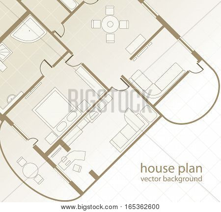 House Plan. Floor plan of a house. Architectural background. Vector illustration