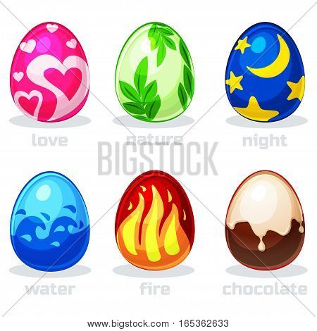 texture cartoon easter eggs, vector game Element icons