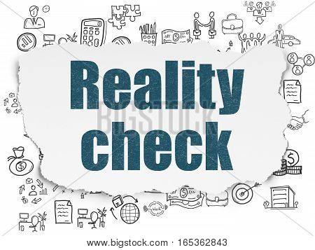 Business concept: Painted blue text Reality Check on Torn Paper background with  Hand Drawn Business Icons