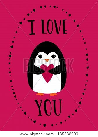 I love you card for Happy Valentines Day. Cute penguin holding heart on crimson background. Hand drawn words