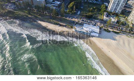 Aerial view of Burleigh Heads beach and Oskars