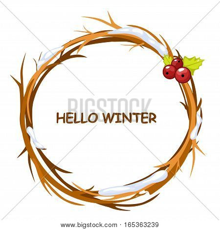 Cute background greeting card, HELLO WINTER in circle of twigs, set 4 season