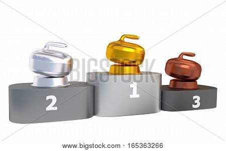 3D illustration of Curling Podium with Gold Silver and Bronze Trophy with white background