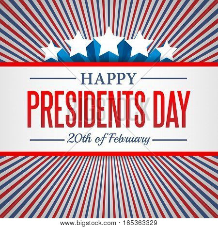Presidents Day background. USA patriotic template with text stripes and stars for posters decoration in colors of american flag. Colorful vector illustration for National celebrations