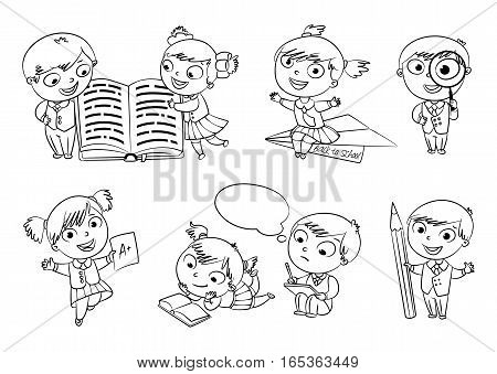 Back to school. Pupils read the textbook. Children do homework. Girl showing a good score. Boy looking through a magnifying glass. Boy draws big pencil drawing. Coloring book. Set