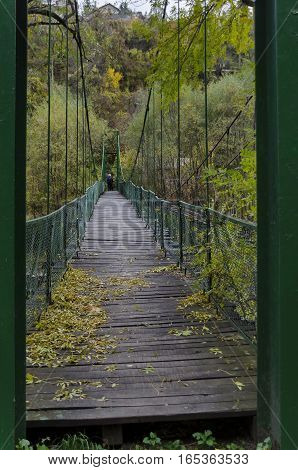 Catenary bridge over river Iskar in the autumn, Iskar defile, Lakatnik, Bulgaria