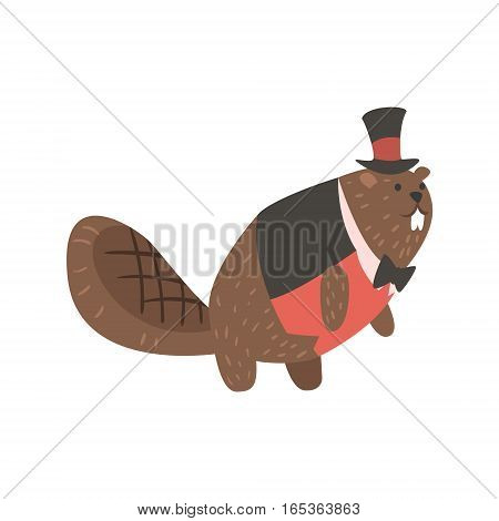 Beaver Dressed As Gentleman, Forest Animal Dressed In Human Clothes Smiling Cartoon Character. Vector Childish Flat Illustration With Funky Woodland Fauna.