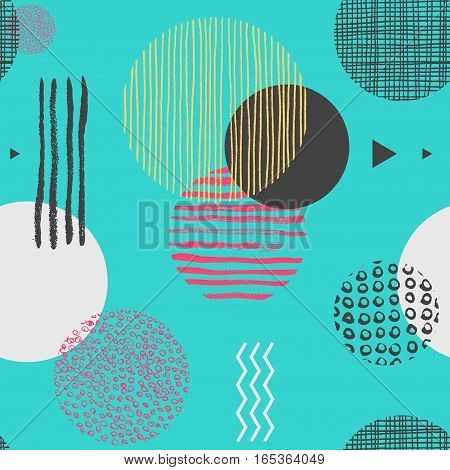 Geometric seamless pattern with circles, triangles and lines of different color, trendy abstract background. Vector illustration in 1990s style for wallpaper, backdrop, wrapping paper, textile print.