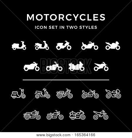 Set icons of motorcycle in two styles isolated on black. Vector illustration