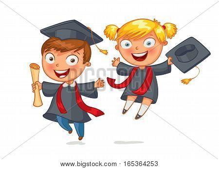 Graduate. Funny cartoon character. Vector illustration. Isolated on white background