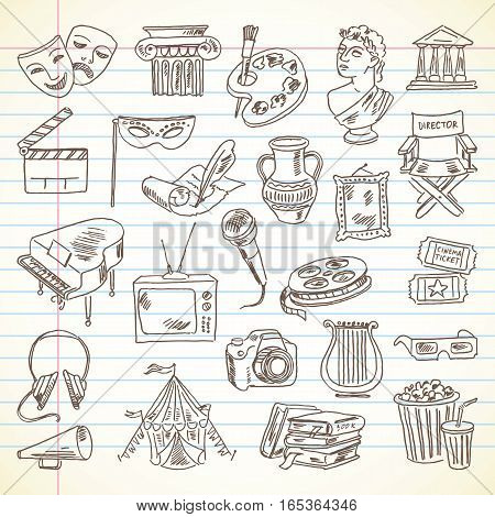 Freehand drawing Culture and Art items on a sheet of exercise book. Literature, Movie, Architecture, Sculpture, Visual Arts, Music, Photography, Theater. Vector illustration. Set