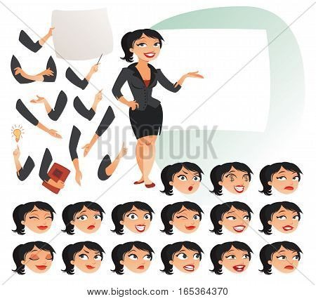 Businesswoman. Parts of body template for design work and animation. Face and body elements. Funny cartoon character. Vector illustration. Isolated on white background. Set